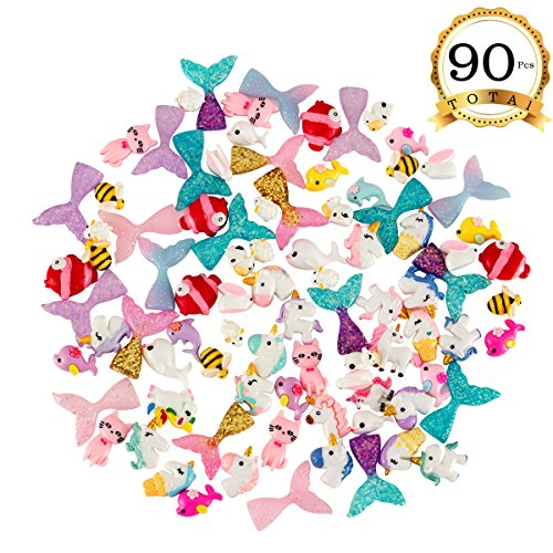 Fish Cute Beads (ANPHSIN 90 Pcs Super Cute Slime Charms Mini Flatback Decor- Slime Supply Kits Accessory Unicorns Mermaid Tail for Slime Making)