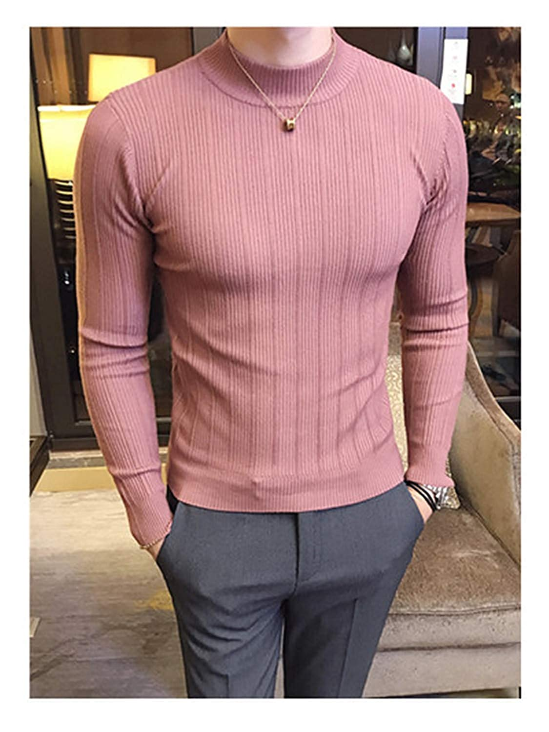 Ariosto0 Men Solid Color Comfortable Mens Christmas Sweater Round Neck Slim Fit Pull
