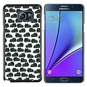 YiPhone /// Prima de resorte delgada de la cubierta del caso de Shell Armor - Dibujo Negro Gatos Wallpaper - Samsung Galaxy Note 5 5th N9200