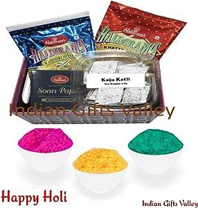 Holi Gift Hamper - Kaju Katli, Haldiram Soan Papdi, Namkeens with Holi Colors