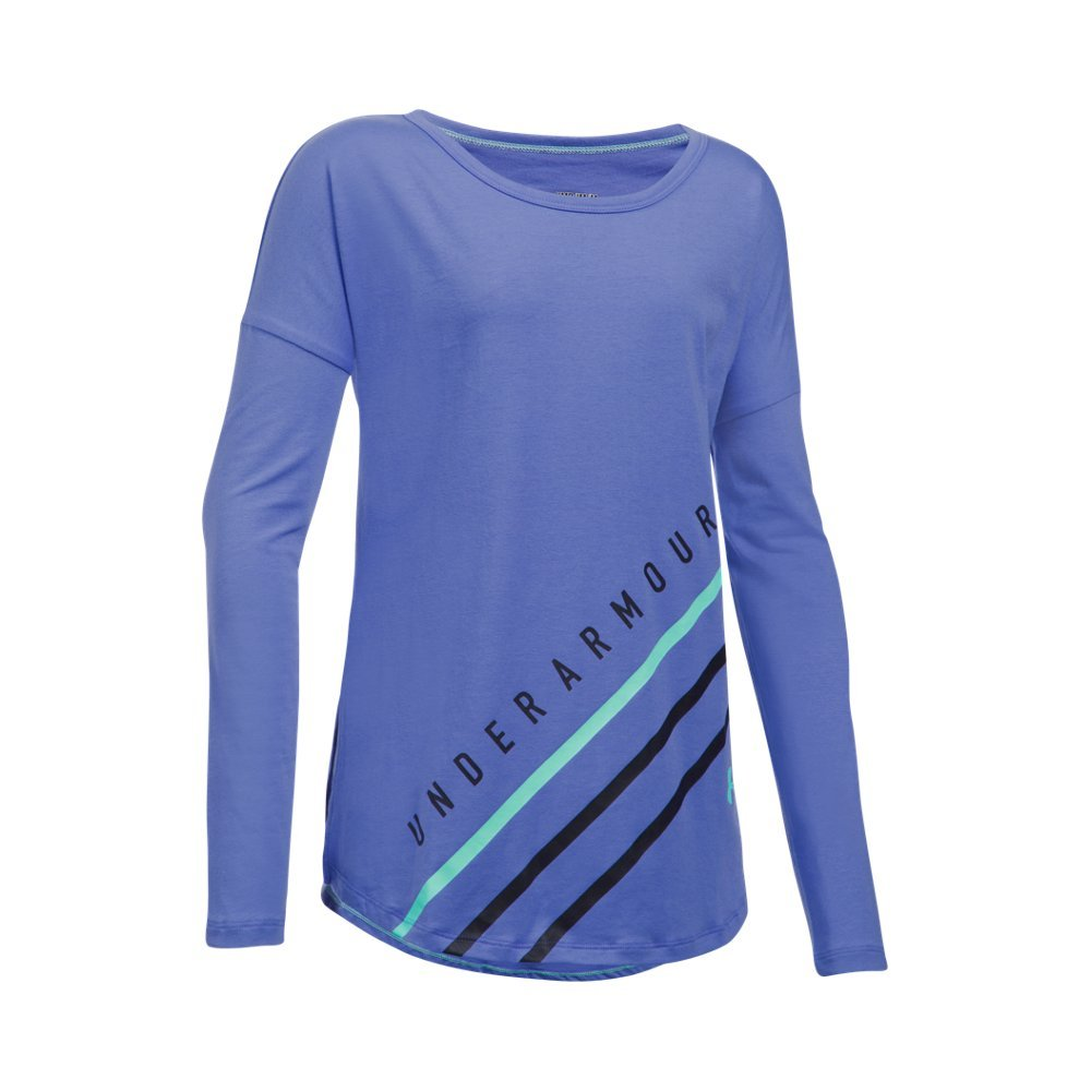 Under Armour Girls' Dazzle Long Sleeve, Violet Storm/Crystal, Youth Medium by Under Armour