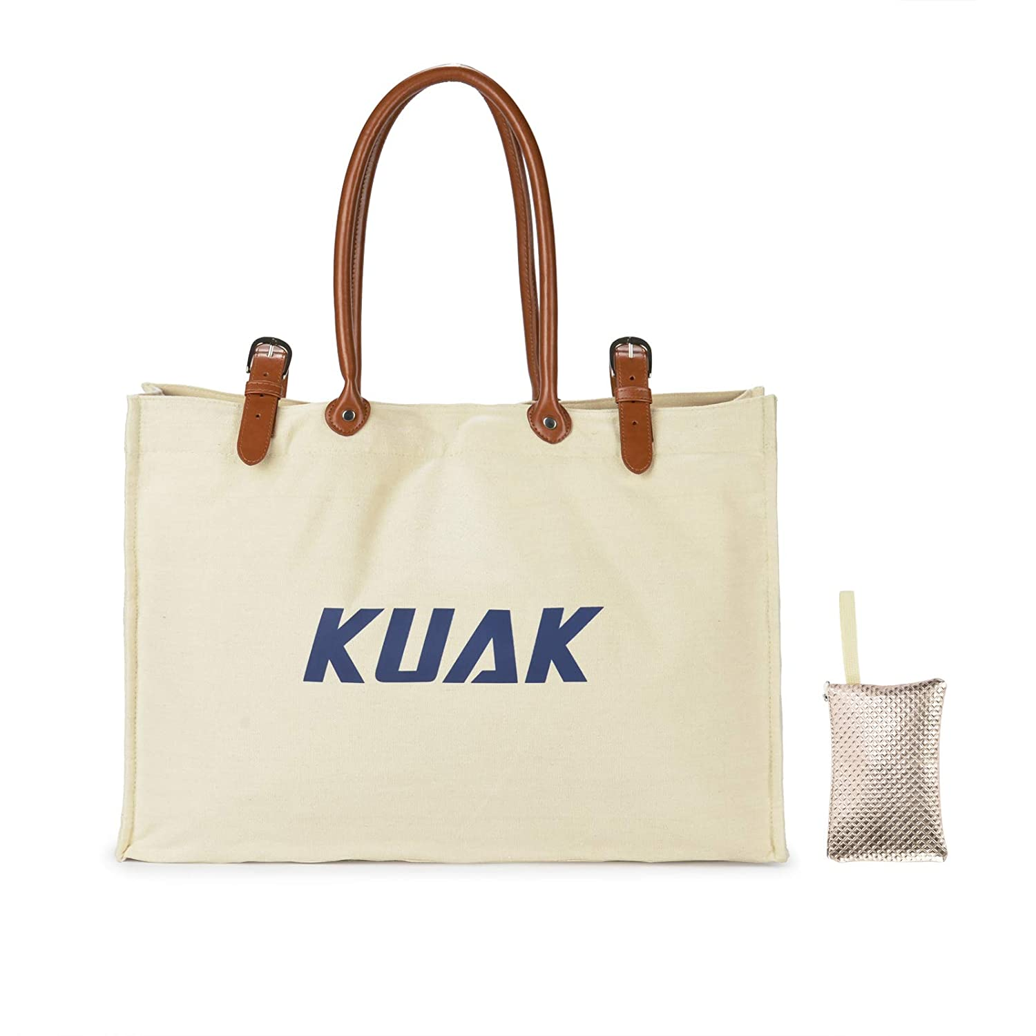Beach Bag, L22 xH15 xW6 XXL , KUAK Large Waterproof Beach Bag with Leather Handles, Top Magnet Clasp, Multi-inside Pockets. Beach Bags and Totes Built-In Waterproof Phone Case, Coin Pouch