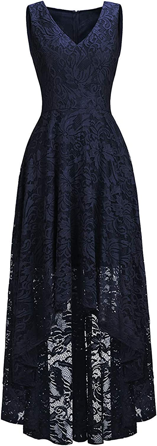 MisShow V-Neck Lace Sleeveless Hi-Lo Bridesmaid Dress Cocktail Party Gowns