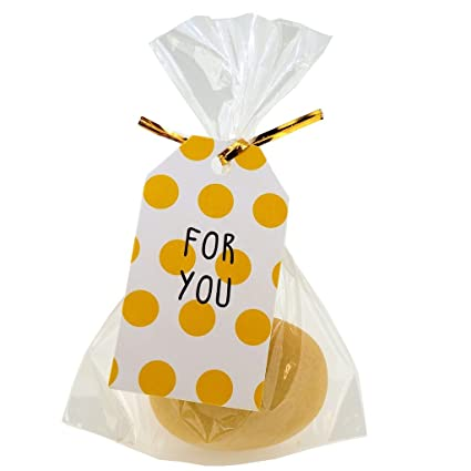 Bolsas de celofán con para You amarillo lunares rayas regalo ...