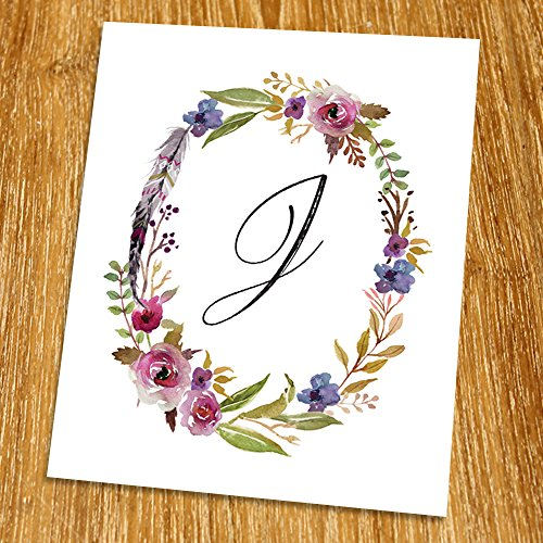 J Monogram Print (Unframed), Nursery Wall Decor, Calligraphy, Flower Letter, Floral Alphabet, Living Room Decor, Initial Print, Typography Print, Watercolor, 8x10