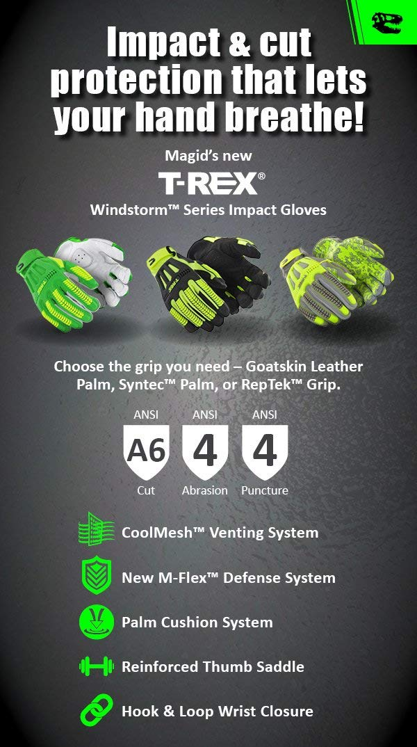 Size 10//XL ANSI A6 Cut Resistant Hi-Viz Safety Work Gloves with Cool Mesh Venting Black//Yellow MAGID TRX742 Windstorm Series Impact Gloves 1 Pair