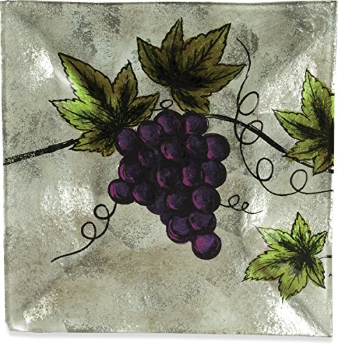 AngelStar 19101 Vineyard Grape Square Plate, 8-Inch