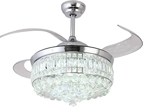 Retractable Crystal Ceiling Fan
