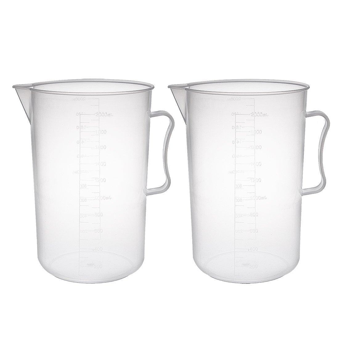 uxcell Kitchen Lab 200mL Plastic Measuring Cup Jug Pour Spout Container 2pcs