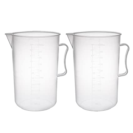 WANGYUMI 2000mL Polypropylene Beaker with Handle Capacity Transparent Laboratory White Plastic with Handle and Spout