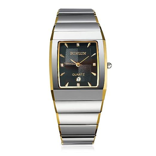 binlun Hombre cuadrado esfera de color negro oro enchapado impermeable de acero de tungsteno reloj con fecha: Amazon.es: Relojes