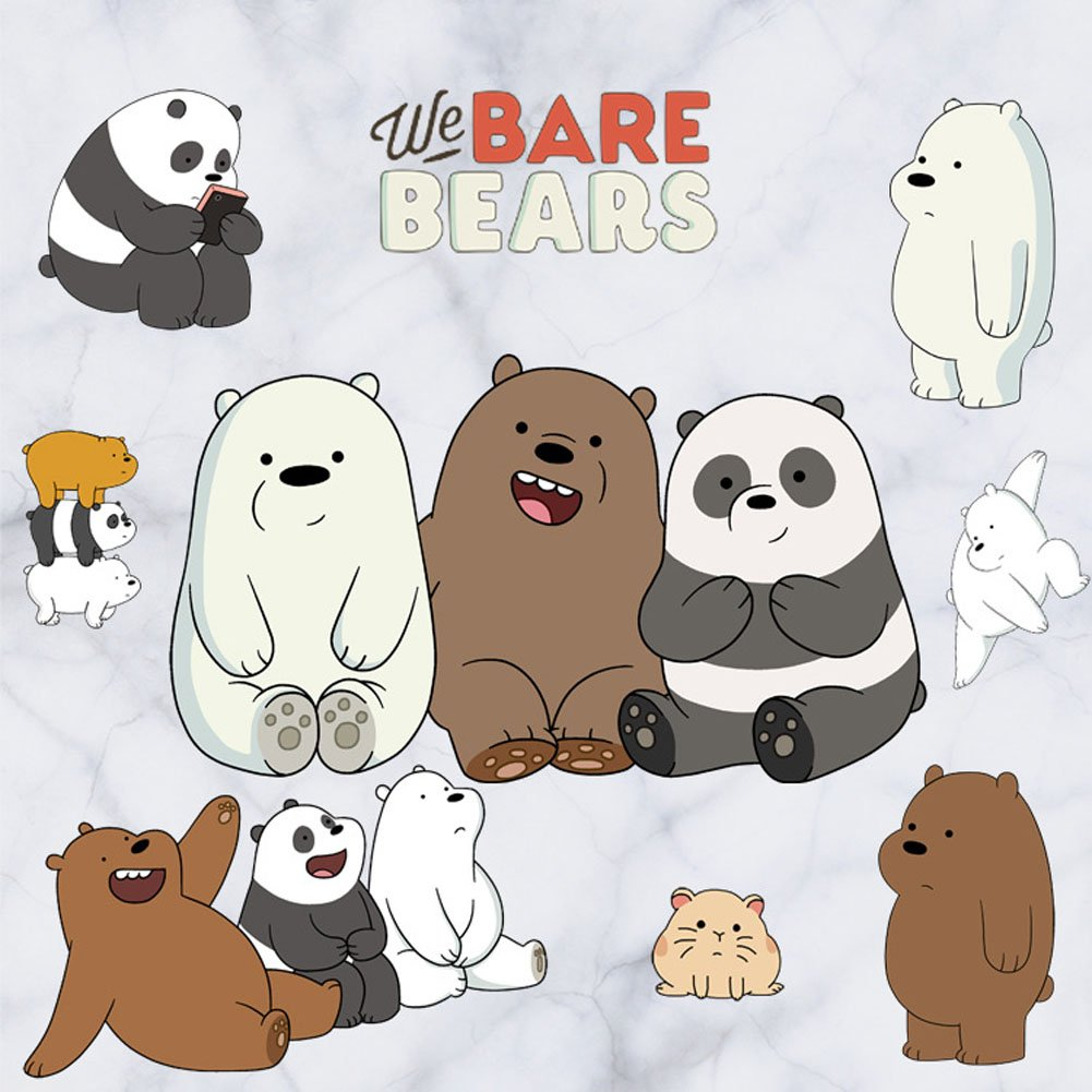 We Bare Bears Cubs Panda Grizzly Ice Bear Car Window Wall Die Cut Decal Sticker