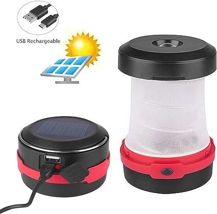 GlobaLink Lampe Camping Solaire Lanterne LED Rechargeable 2 en 1 Ext/érieur Pliante de Poche T/élescopique C/âble USB Batterie 3 Luminosit/é 800mAh Dur/ée Max 12H pour Randonn/ée Bivouac