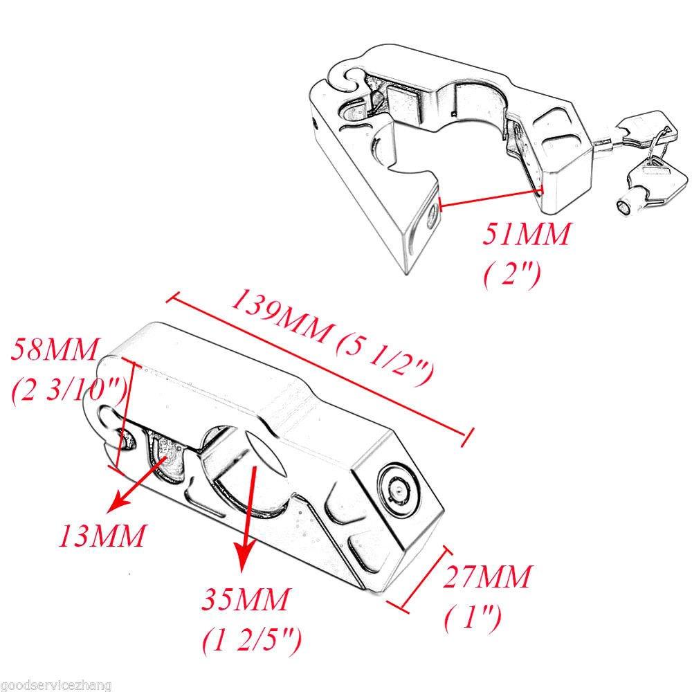 Lisyline Motorcycle Grip Lock Handlebar Grip Throttle Brake Lever Lock Anit Theft Security Caps Lock(blue)