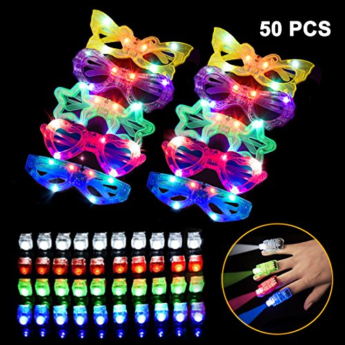 LED Light Up Toys 50 PCS Party Favors - 10 Light Up Glasses,40 Light Up Finger Lights, Bulk Glow in the Dark Party Supplies for Adults and Kids