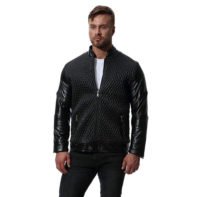 MISSMAOM Chaqueta de Cuero Invierno Cálido Biker Jacket Moto Abrigo Diseño único Negro S