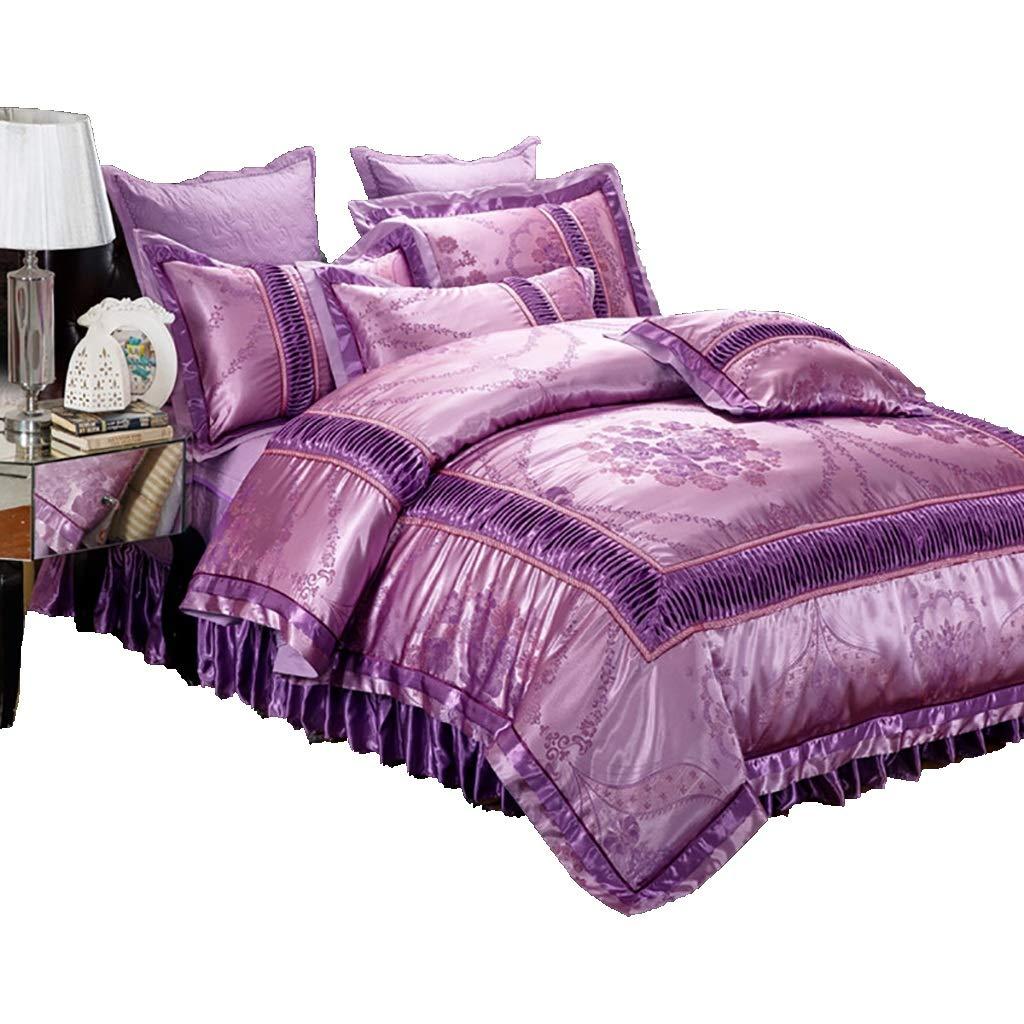 寝具カバーセット 4/6ピースセットベッドの上掛け布団カバーベッドスカート枕カバークッションカバー小さな枕布団カバーギフトベッドセット寝具ホテルファミリー (色 : 6 piece set, サイズ さいず : 1.8M bed (2)) B07MDYQMM5 6 piece set 1.8M bed (2)