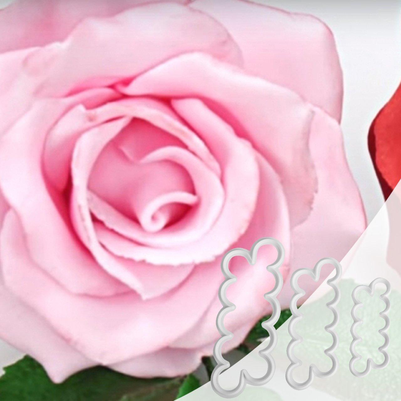 Newcomdigi 3 Pcs Plantillas para Decoración de Tartas Pasteles, Cortador de Flores Rosa Volantes Molde de Flores Rosa para Modelar Pétalo, ...