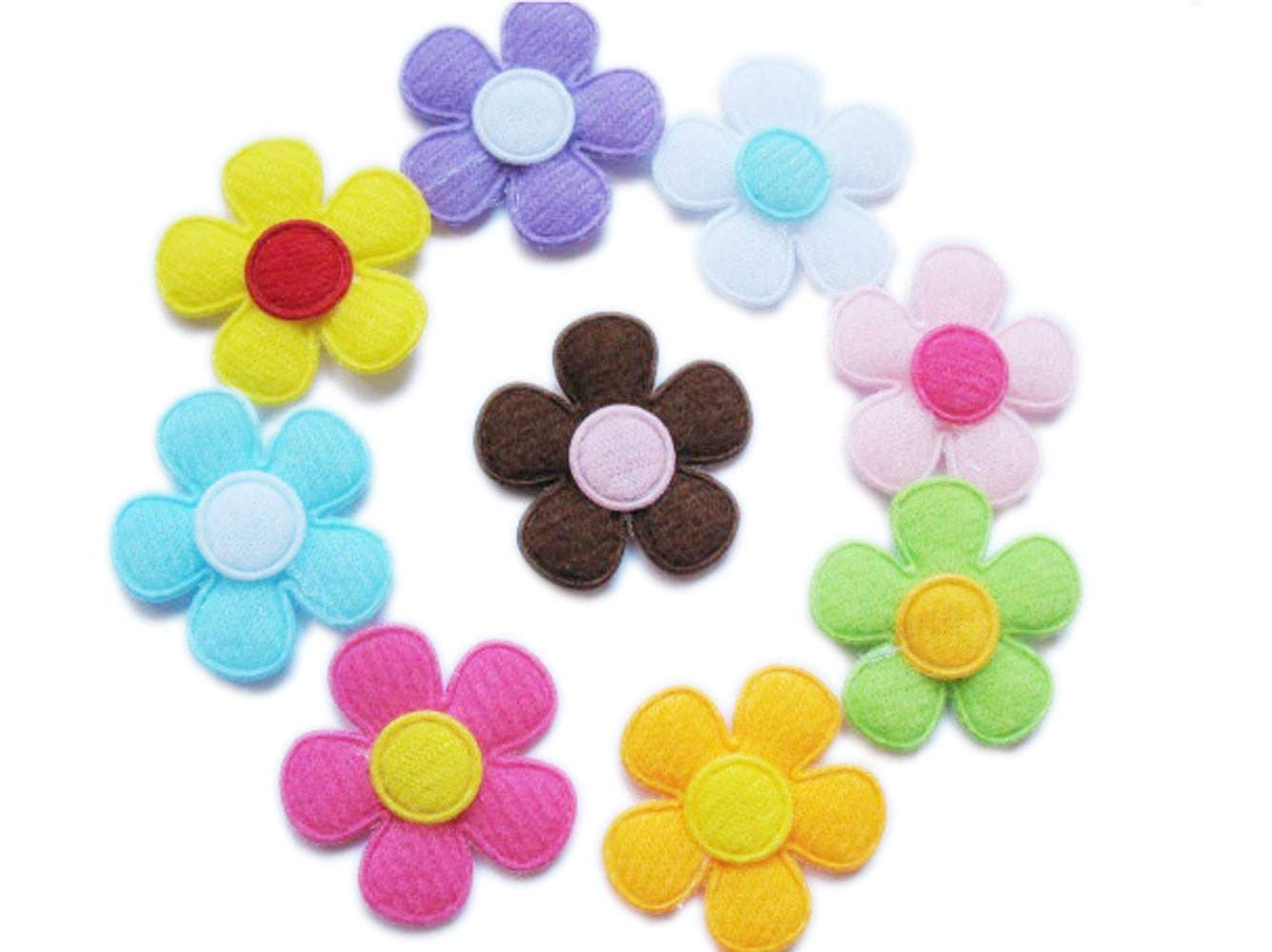 YYCRAFT Pack Of 90pcs Padded Spring Felt Flower Appliques 9 Colors