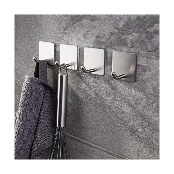 61PGNn8LHtL Haken Selbstklebende Handtuchhaken ohne Bohren Wandhaken 4 Stk Klebehaken Edelstahl für Küche und Bad, von Ruicer