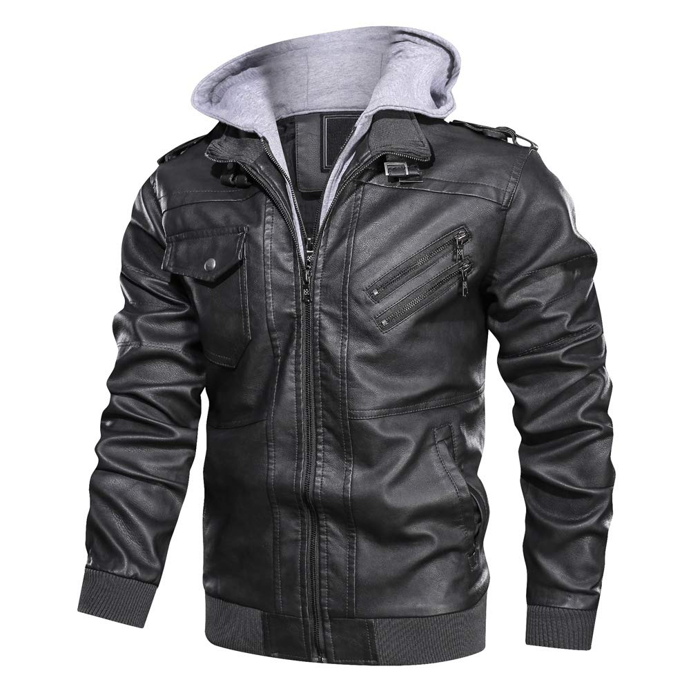 3XL Ohwens 2019 Mens Jackets Outwear PU Leather Motorcycle Jackets Coat Zipper Detachable Hat Removable Hood with Pockets for Warm Autumn Winter Black Gray Brown S