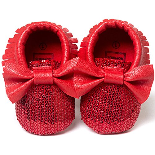 DESDEMONA Toddler Kids Unisex Silver Sequin Soft Sole Leather Baby Pre-walker Shoes (S, Red)