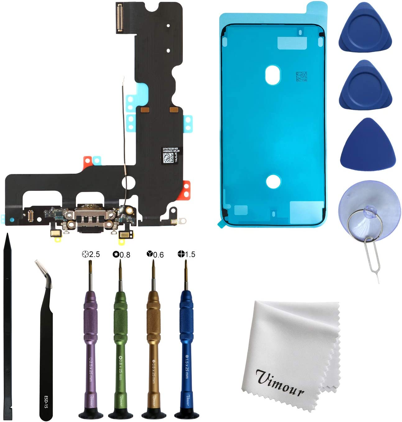 Vimour OEM Original Charging Port USB Dock Connector with Microphone Flex Cable Assembly Replacement for iPhone 7 Plus 5.5 inches with Premium Toolkit and LCD Screen Adhesive Tape (Black)