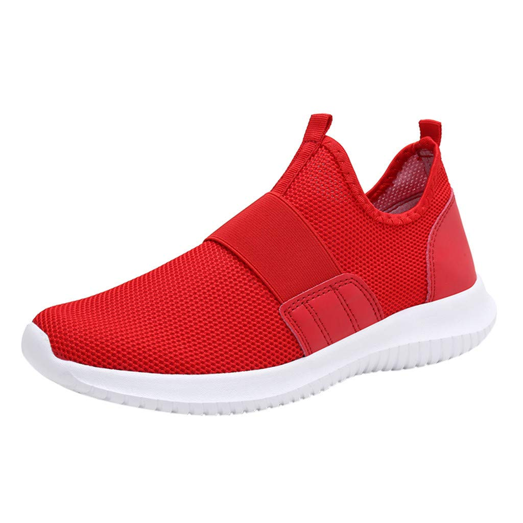 Yomiafy Men's Lightweight Slip-On Sneakers Fashion Casual Running Shoe Athletic Shoes for Walking(Red,US:10.5)