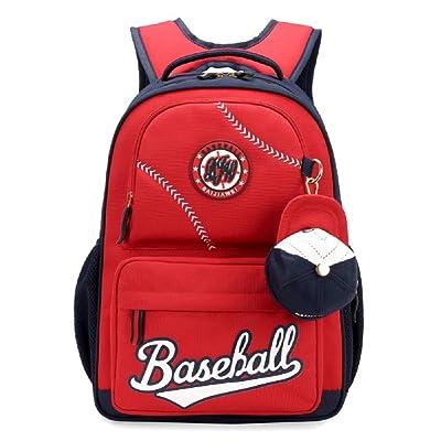 Bysn Baseball School Backpacks for Boys Girls Bookbag With Small Cap Change Purse
