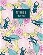 Notebook Boho Bugs: Tropical exotic stag-beetle bugs (Composition book, journal,diary) blank lined (8.5x11) 110 pages