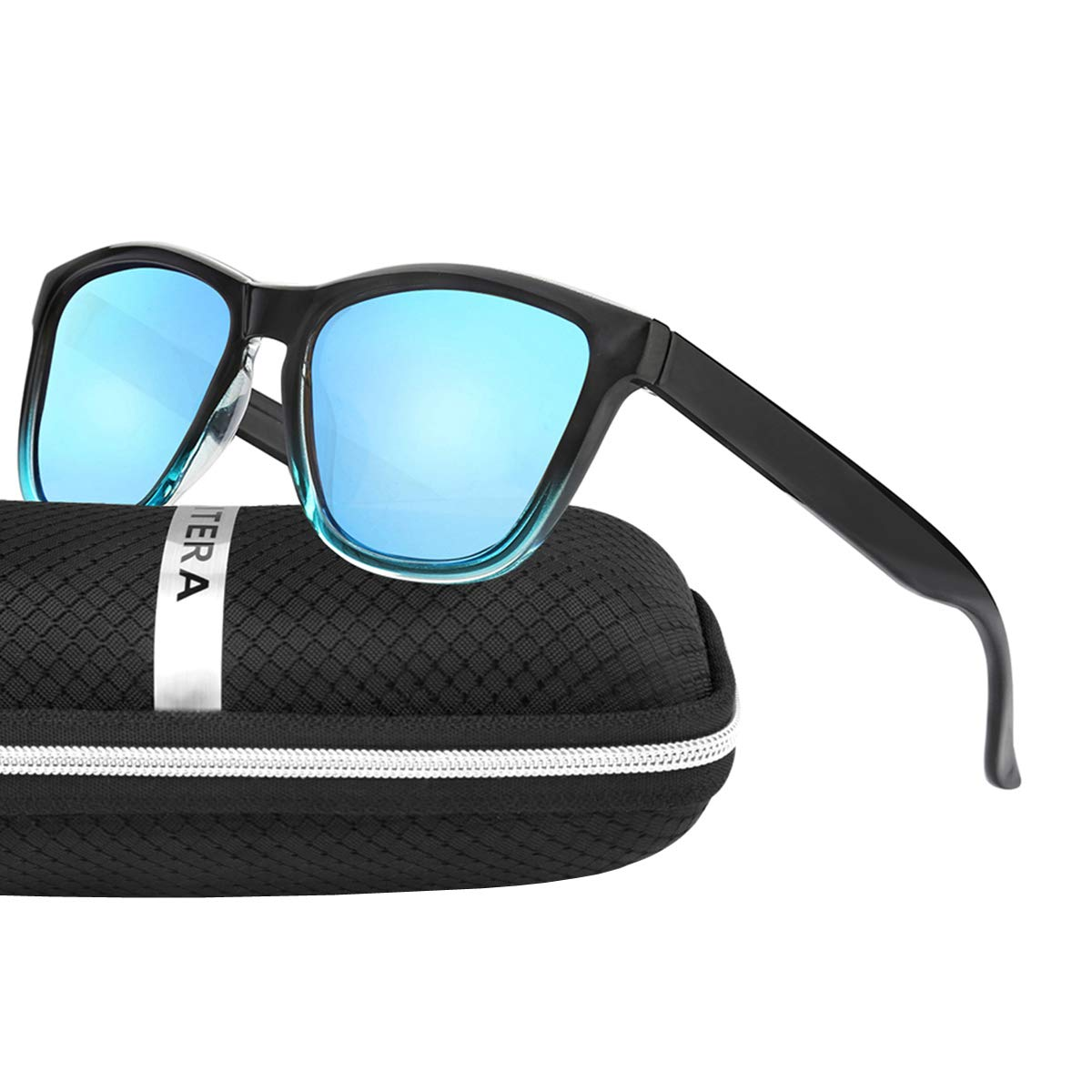ELITERA Women Sunglasses Famous Lady Designer Gradient Colors Polarized Glasses UV400 E0717 (Black&Blue, 53)