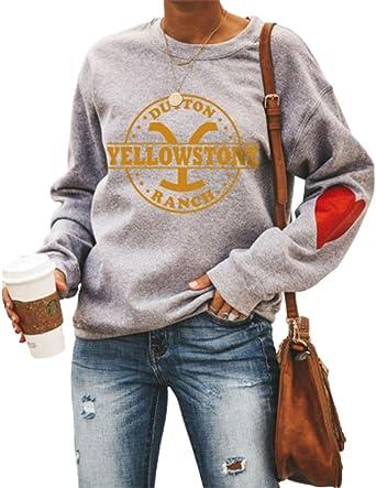 Yellowstone Sweatshirt Frauen, Yellowstone Staffel 3 Langarm Rundhals Casual Loose Tops Shirts für Frauen: Odzież
