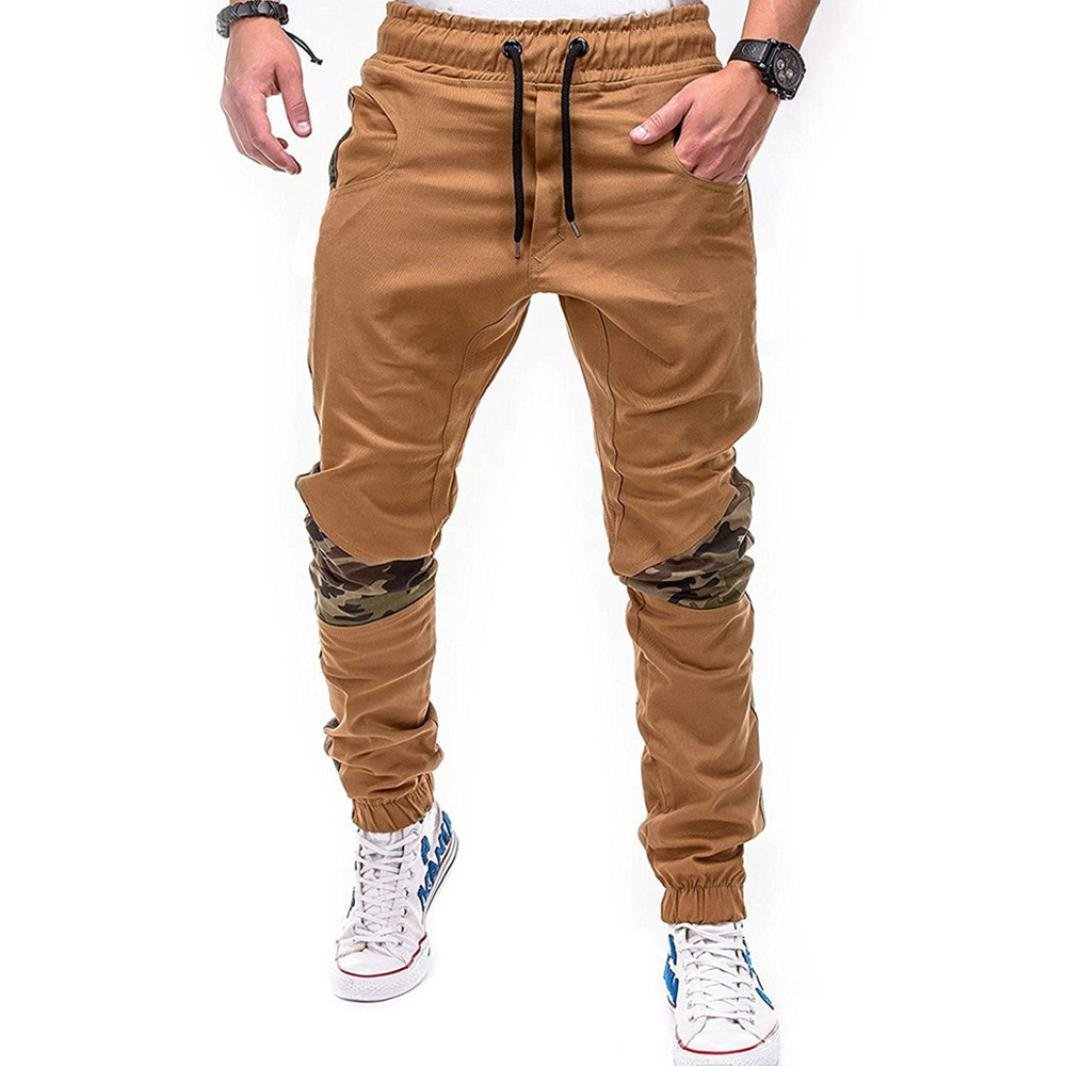 HTHJSCO Men Athletic Gym Fitness Sweatpants Joggers Pants with Cargo Pockets (Khaki, XXL)