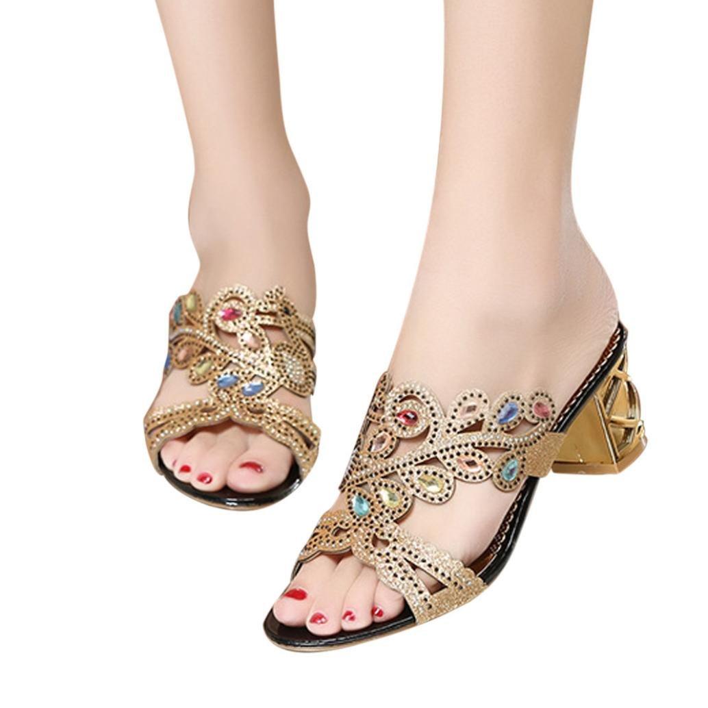 FORUU Summer Fashion Women Big Rhinestone Heel Sandals Ladies Sparkling Slipper (39, Gold)
