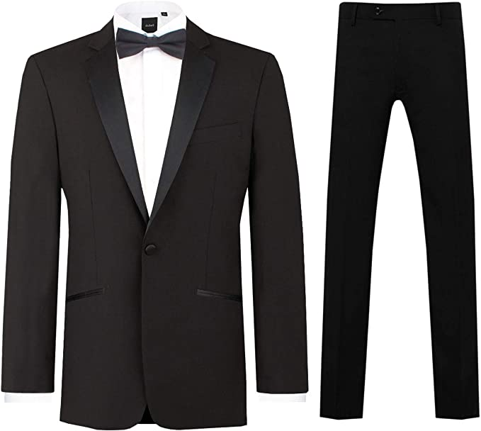 Edwardian Men's Formal Wear Dobell Mens Black 2 Piece Tuxedo Regular Fit Notch Lapel £99.99 AT vintagedancer.com