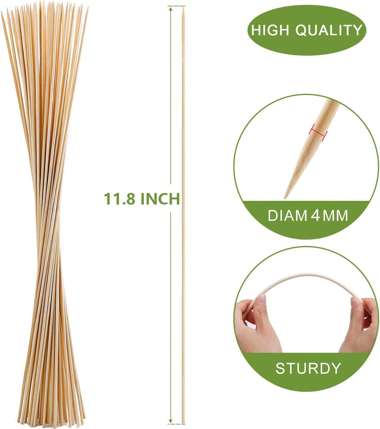 Marshmallow Fondue 100 Pack of 12 inch Organic Wooden Barbecue Kabob Skewers,Best for Barbecue Natural Bamboo Skewers Cooking Grilling,Fruit Sticks,Kitchen,BBQ,Crafting and Party