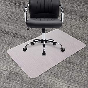 "GeeWin Chair Mat for Carpets, 30"" x 48"" Rectangle Transparent Thick Sturdy Desk Chair Floor Protector Office Mats for Low, Standard and No Pile Carpeted Floors (30"" x 48'' Rectangle)"