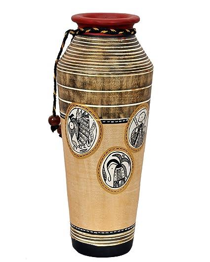 Buy Vareesha Handcrafted Simmer Gold Taper Terracotta Vase For Home