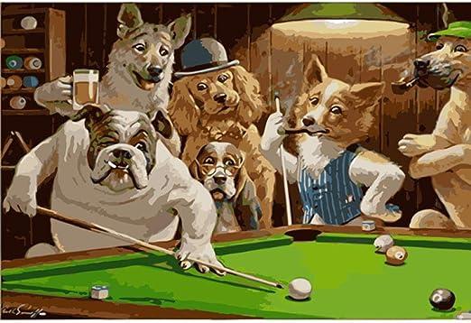 74Tdfc Imágenes, regalos, 1000 piezas Rompecabezas 3D de madera Premium Mr Dog jugando billar Juego de niños juguete adultos piezas de regalo de cumpleaños: Amazon.es: Hogar