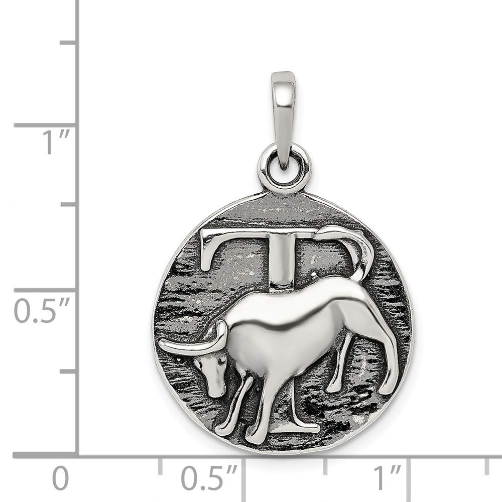 Sterling Silver Polished Antique Finish Taurus Horoscope Pendant Solid 19 mm 29 mm Pendants /& Charms Jewelry
