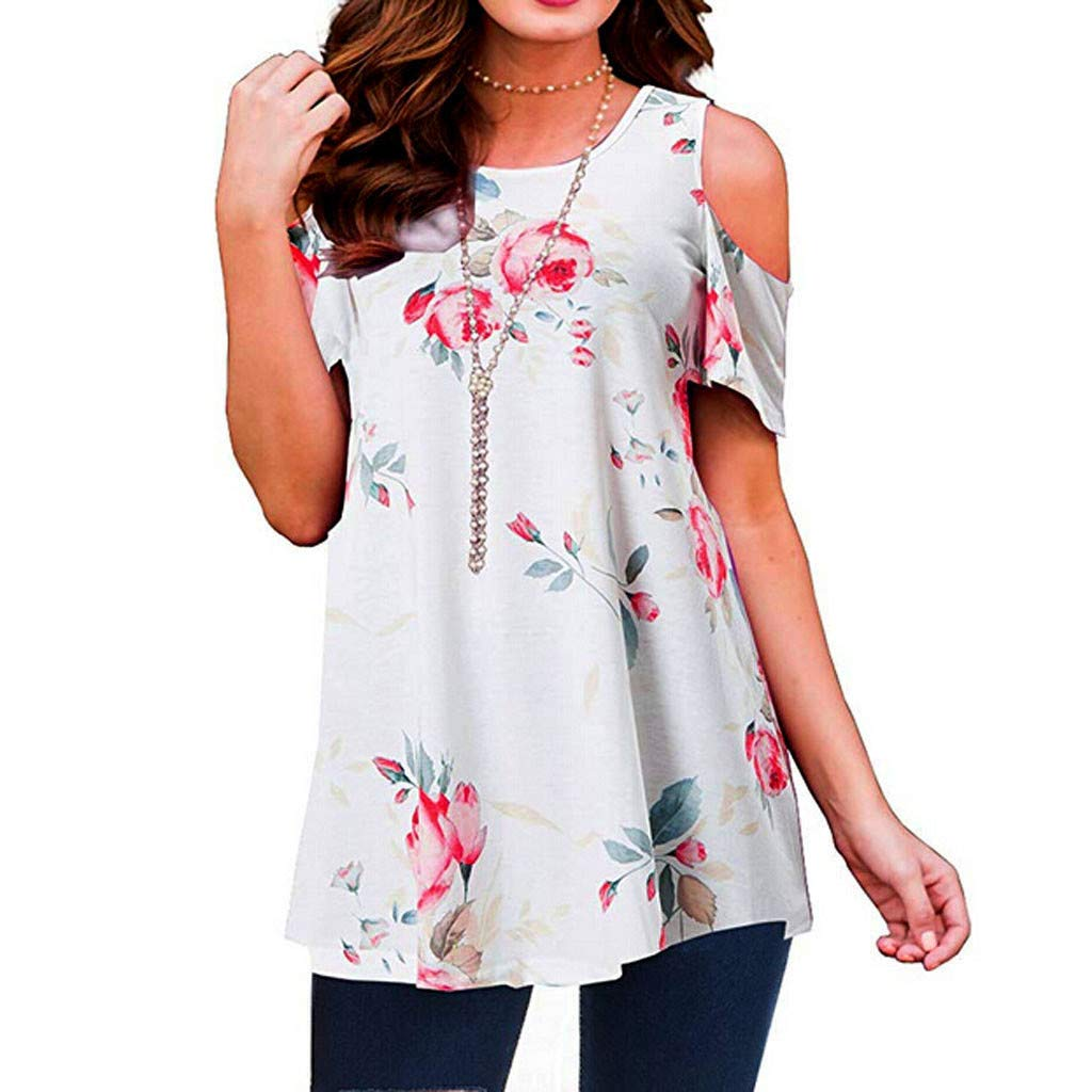 Women's Short Sleeve Blouse Classic Refined Shirts Casual Floral Print Tunic Loose Pleated Tops T-Shirt Size S-2XL (XL=US:10-12, White)