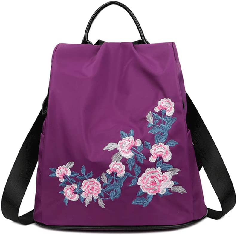 SLH Backpack Female Wild Anti-Theft National Canvas Embroidery Travel Bag Travel Light Backpack Color : Purple