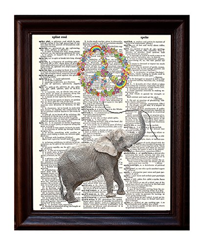 Dictionary Art Print - Peace Balloon and Elephant - Printed on Recycled Vintage Dictionary Paper - 8.5x11 - Mixed Media Poster on Vintage Dictionary Page