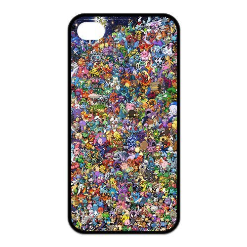 4s Case, iPhone 4 4s Case - Fashion Style New Pokemon Pikachu Painted Pattern TPU Soft Cover Case for iPhone 4/4s(Black/white)