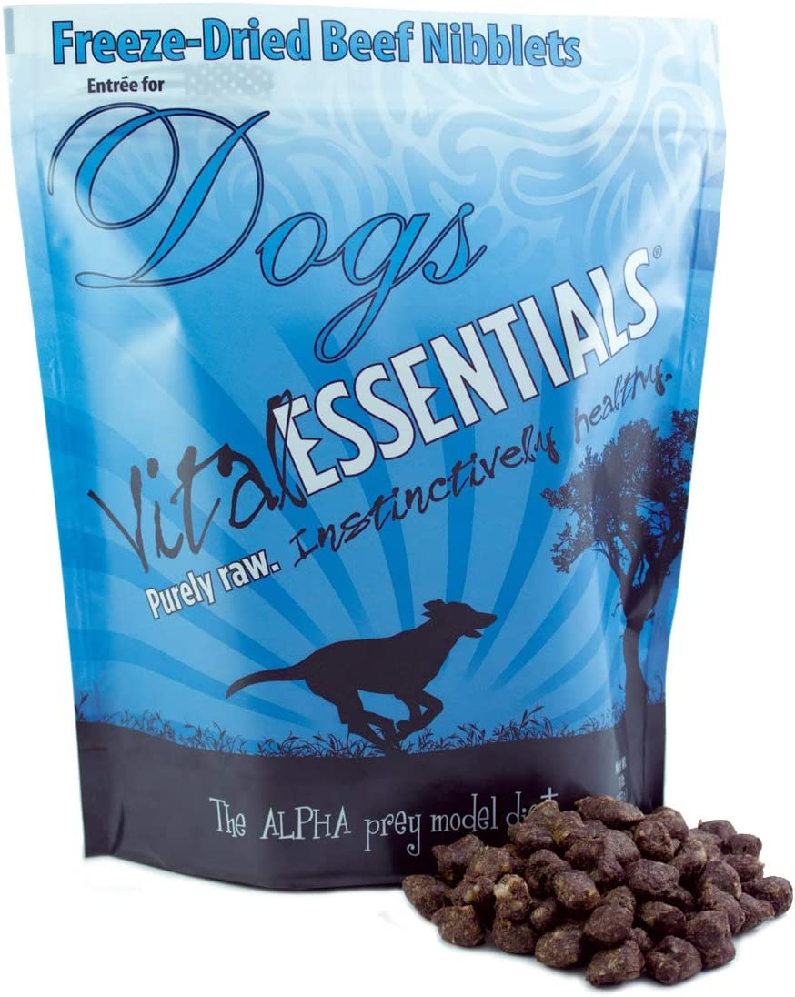 Vital Essentials Freeze Dried Beef Nibblets – USA Made – All Natural Raw – Nutrient Dense – Grain Free Dog Food – 1 LB Resealable Bag