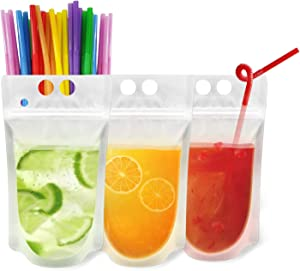 ONEYIM 20pcs Clear Drink Pouches Bags Heavy Duty Hand-held Translucent Reclosable Zipper Stand-up Plastic Pouches Bags Drinking Bags 2.4