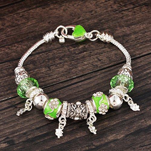 Souarts Bracelet Breloque Charms Perles Strass Couleur Argent Vert Clair 21cm