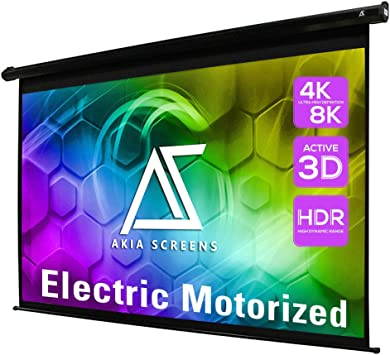 Amazon Com Akia Screens 150 Inch Motorized Electric Remote Controlled Drop Down Projector Screen 16 9 8k 4k Hd 3d Retractable Ceiling Wall Mount Black Projection Screen Office Home Theater Movie Ak Motorize150h Office Products