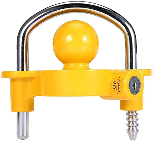 GoTow GT-10002 Yellow Universal Coupler Trailer Hitch Security Lock Fits 1 7//8 2 2 5//16