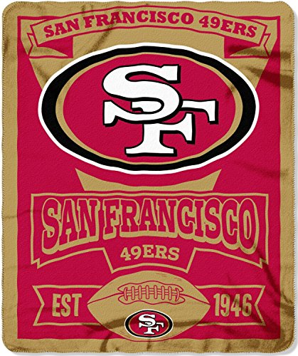 NFL San Francisco 49ers Marque Printed Fleece Throw, 50-inch by (Red San Francisco 49ers Football)